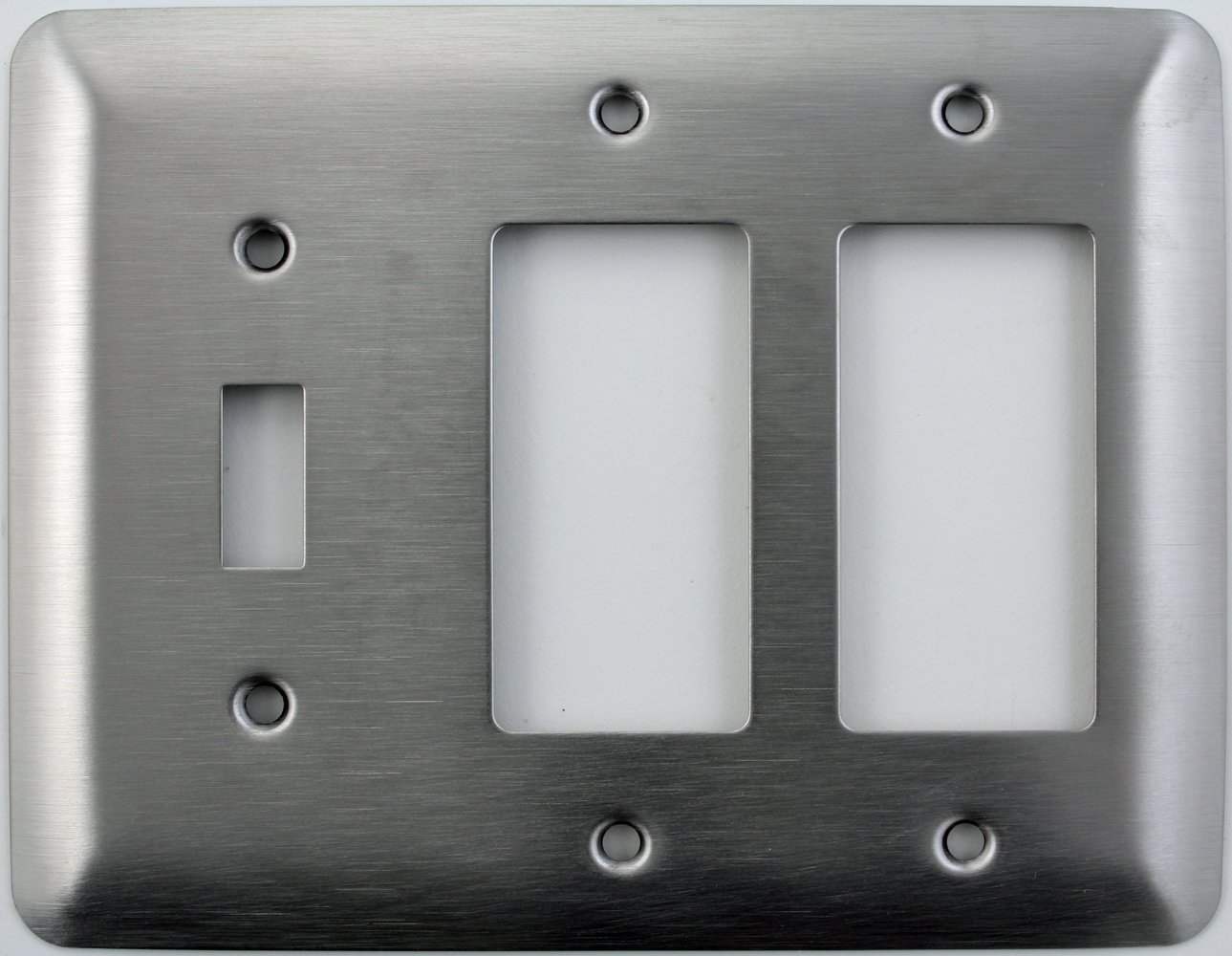 Mulberry Princess Style Satin Stainless Steel 3 Gang Switch Plate - 1 Toggle Light Switch Opening 2 GFI/Rocker Openings