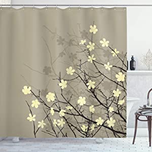 Ambesonne Japanese Shower Curtain, Retro Flourishing Twiggy Eastern Blossoms Botanical Metaphoric Concept, Cloth Fabric Bathroom Decor Set with Hooks, 70