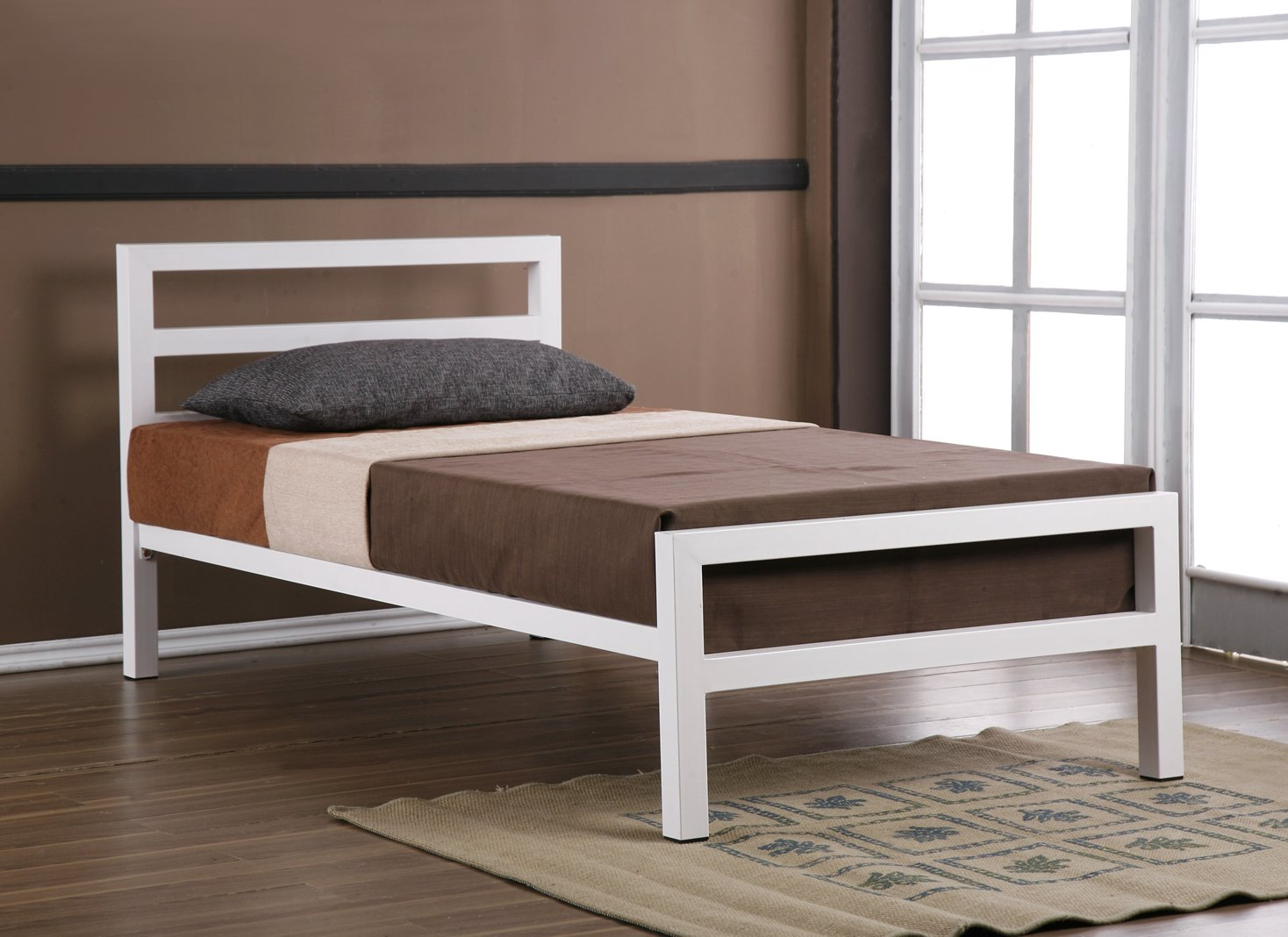 City block 3ft single white modern metal bed frame - City Block 3ft Single White Modern Metal Bed Frame Amazon Co Uk Kitchen Home