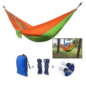 Single / Double Camping Hamaca, NATUCE Portátil de secado rápido Paracaídas Nylon Tela cama para