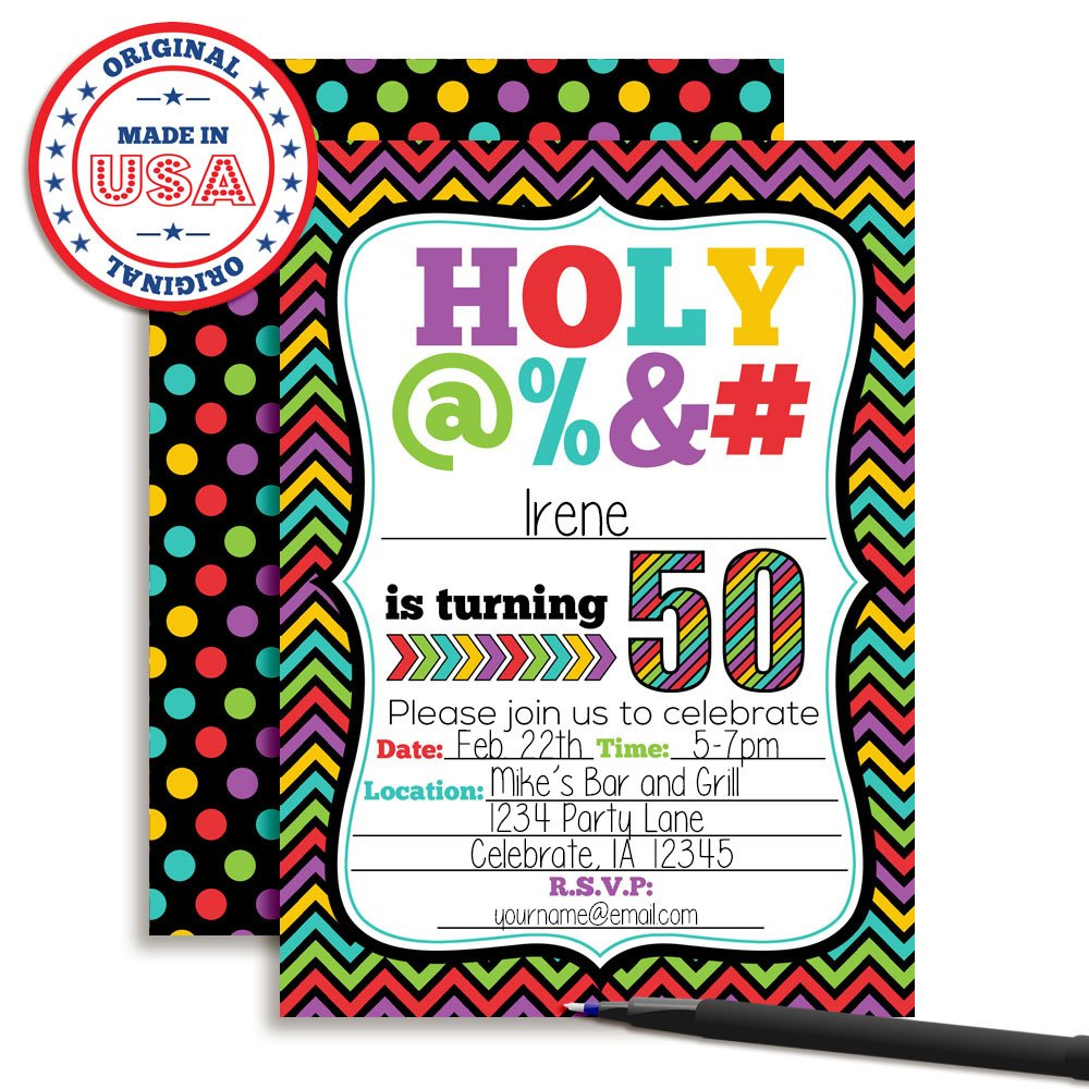 Amazon HOLY 50th Birthday Party Invitations 20 Funny 5x7 Fill In Cards With Twenty White Envelopes For Milestone Birthdays By AmandaCreation