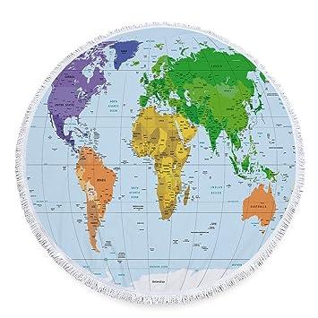 weltkarte rund Axiba Weltkarte aus Mikrofaser Druck rund Badetuch mit gefransten  weltkarte rund