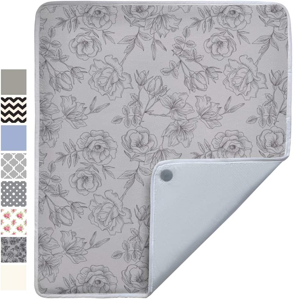 Gorilla Grip Premium Ironing Pad, Magnetic Laundry Pad, 28 x 24 Inch, Heat and Scorch Resistant, Iron Board Mat for Table Top, Washer, Dryer, Durable Pads for Travel, Gray Floral