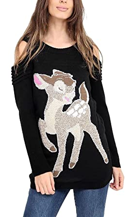 13962882468b Ladies Christmas Knit Bambi Baby Deer Print Cut Out Shoulder Top ...