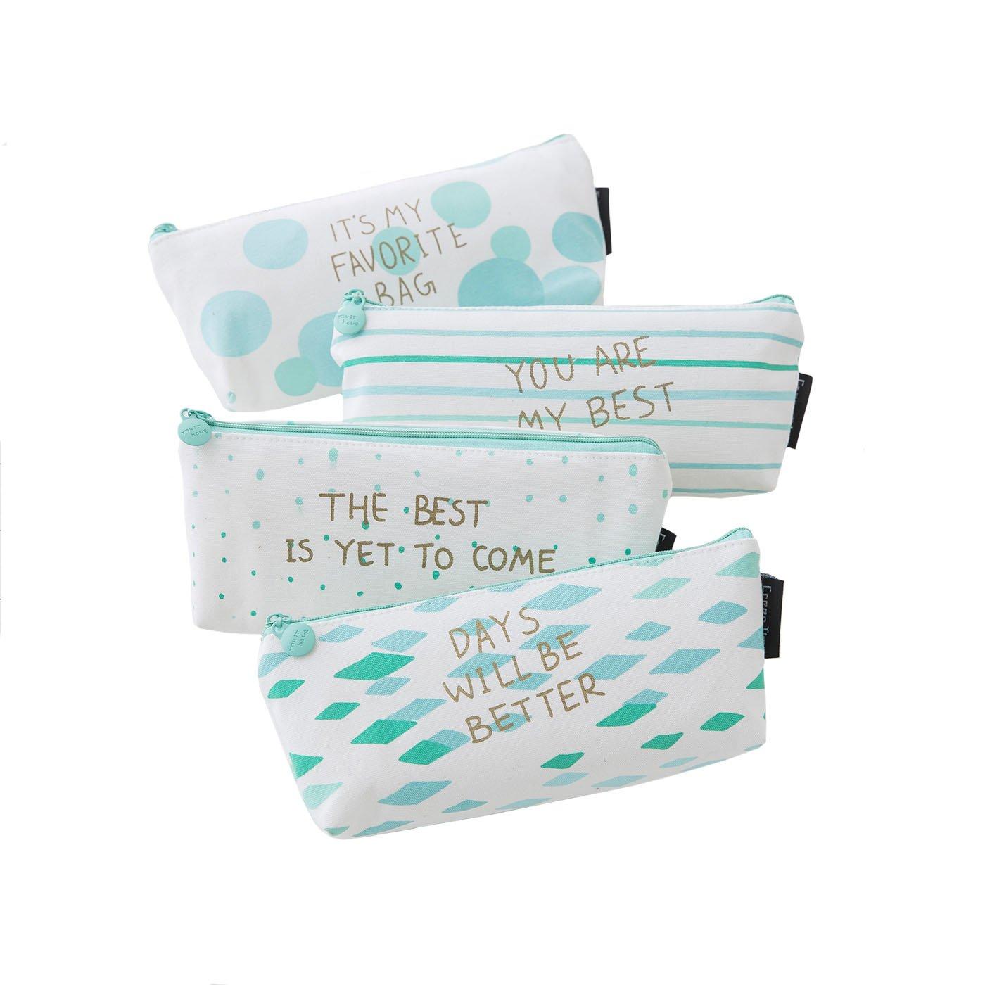 Boomly 4 Piezas Chicas Estudiante Estuche Lona Caja De Papelería Cremallera Trapecio Diseño Raya Caja De Lápices Cartuchera (Verde)