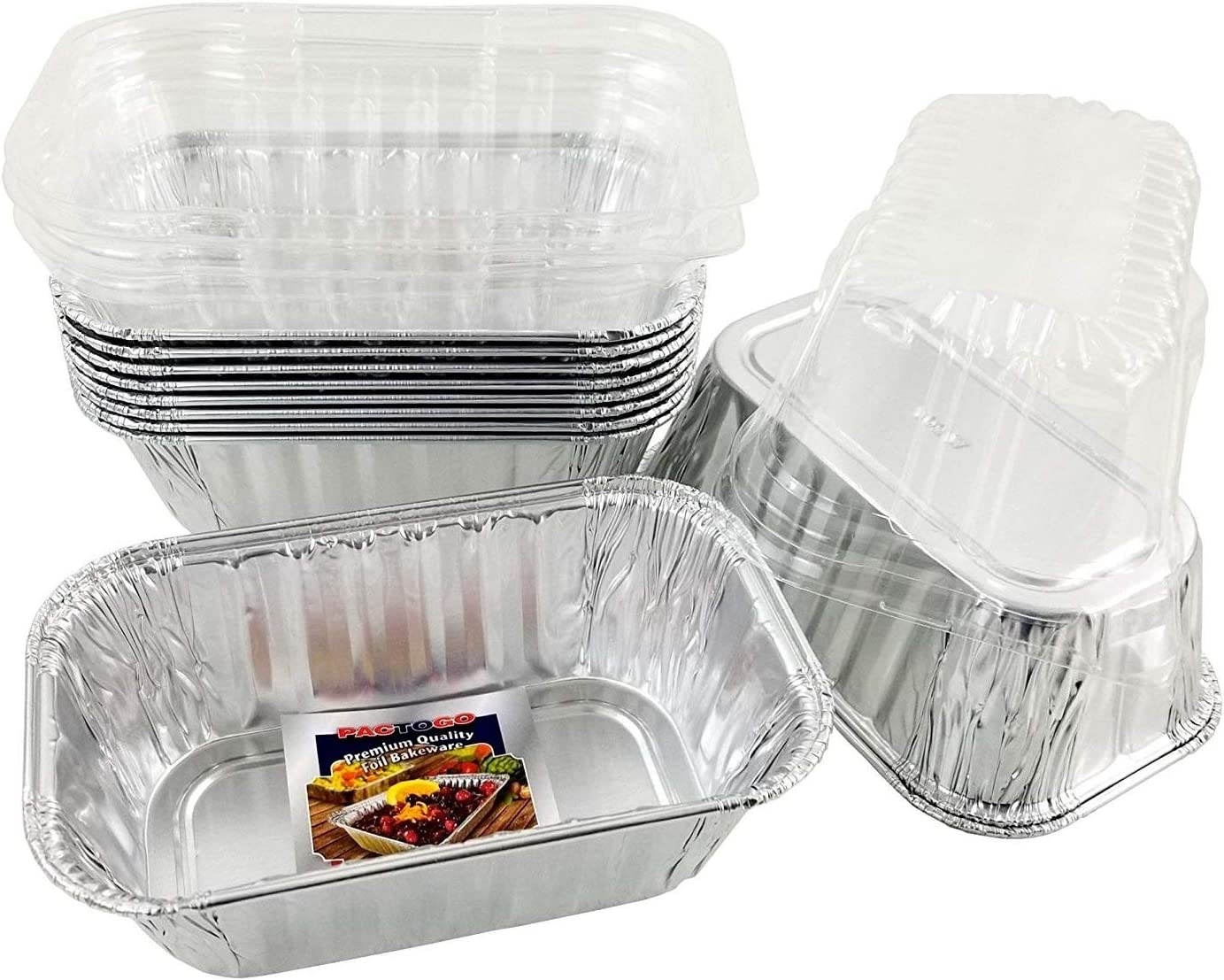 Pactogo Disposable 1 lb. Aluminum Foil Mini Loaf Pans with Clear Dome Lids (Pack of 40 Sets)