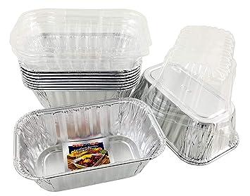 Pactogo Desechable 1 lb Mini sartenes de aluminio con tapas de cúpula transparente