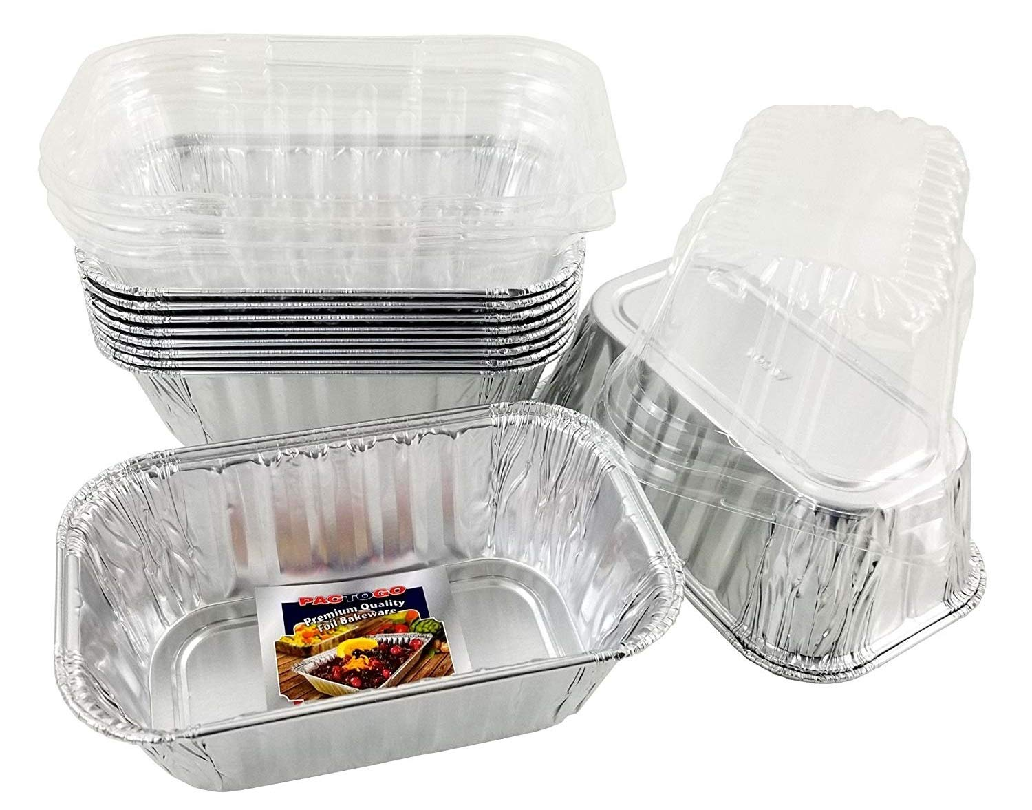 Pactogo Disposable 1 lb. Aluminum Foil Mini Loaf Pans with Clear Dome Lids (Pack of 100 Sets) by PACTOGO (Image #1)