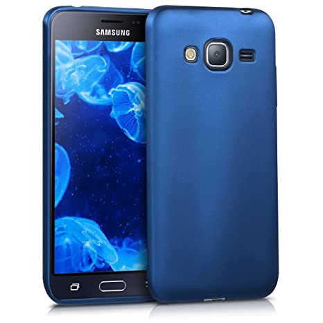reliable quality fashion styles utterly stylish kwmobile Coque Samsung Galaxy J3 (2016) DUOS - Coque pour Samsung Galaxy J3  (2016) DUOS - Housse de téléphone en Silicone Bleu métallique