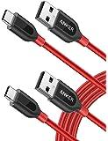 [2 件装] Anker PowerLine+ USB-C 到 USB A 2.0 电缆,适用于 Galaxy S9、S8+、S8、MacBook、Sony XZ、LG V20 G5 G6、HTC 10、小米 5 等(6 英尺)AK-B8266091 6 英尺 红色