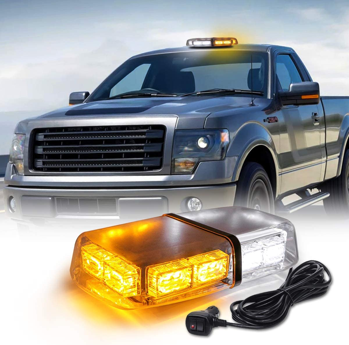 TeddyTT Amber White Safety Strobe Lights Roof Mount Strobe Mini Led Light Bar Emergency Hazard Warning Led Mini Beacon Lights Roof Plow Light with Magnetic Suction Base for Truck Construction Vehicle