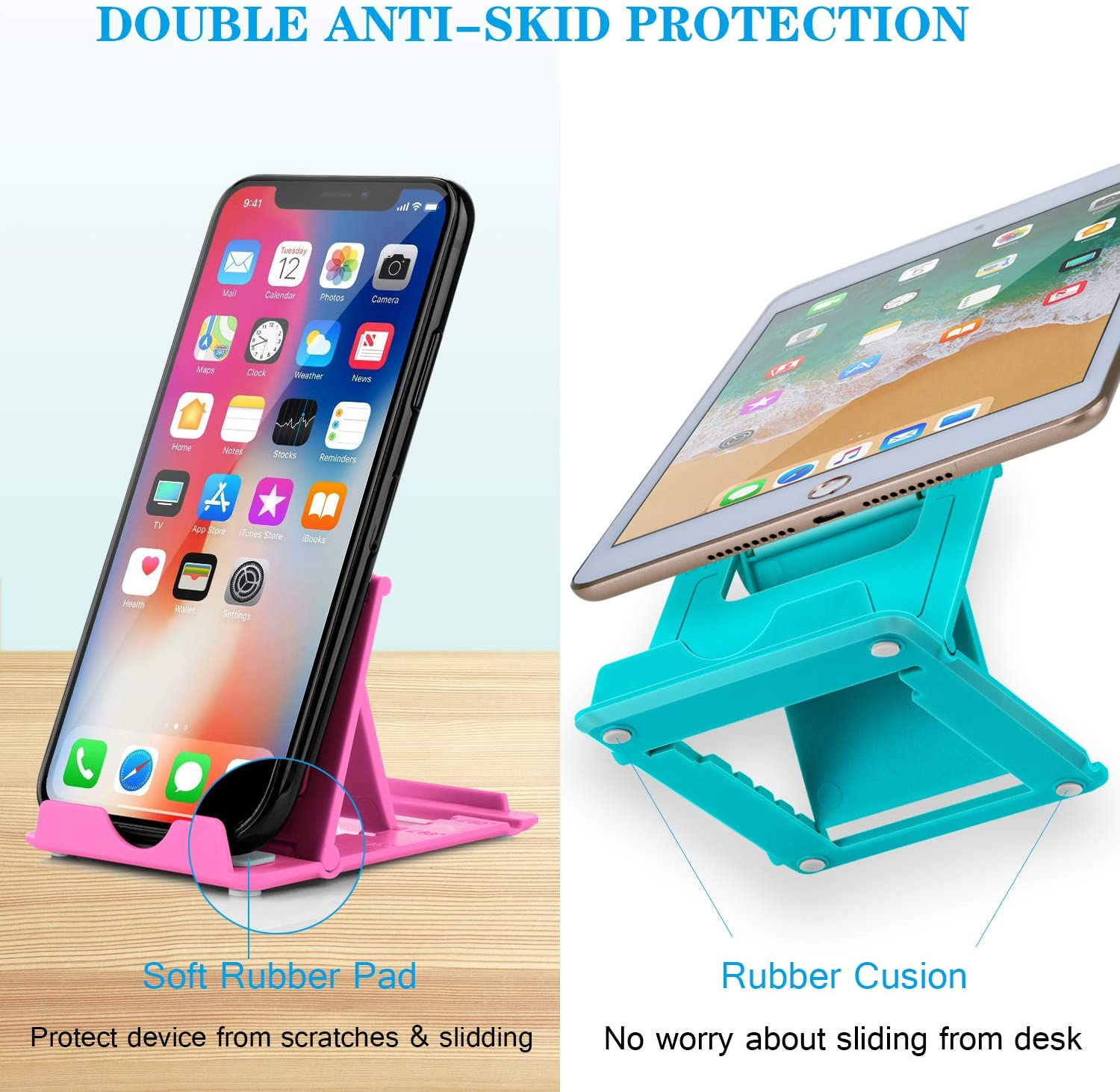 Phone Stand 4-7.9 2Pack Cellphone Holder Tablet stands Foldable Multi-angle for desk lightweight Desktop Dock Cradle Compatible for iPhone Xs Max XR 8 Plus 6 7 6S X 5 Samsung Galaxy S10 S9 S8 S7 Edg