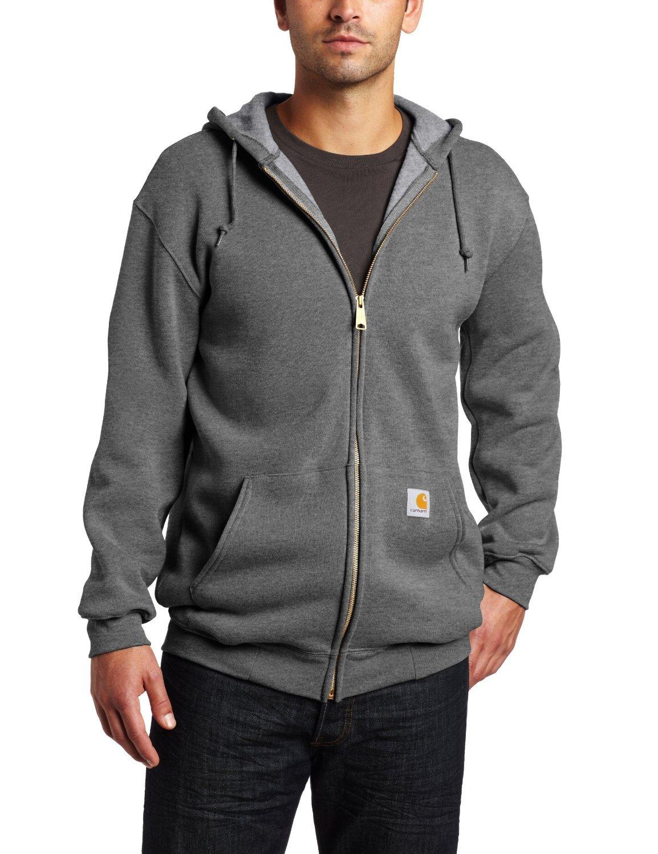 Carhartt Men's Midweight Sweatshirt Hooded Zip Front Original Fit K122,Charcoal Heather,Medium