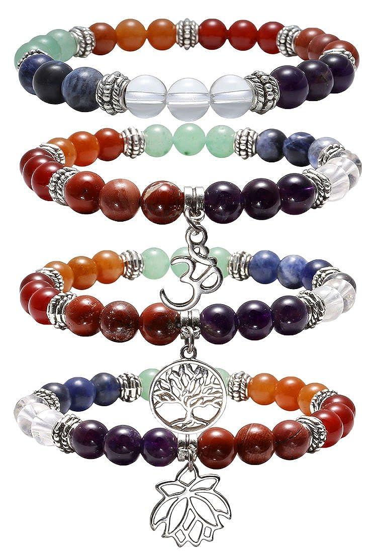 Top Plaza 7 Chakra Healing Balance Energy Crystal Gemstone Beads Bracelets Set, 8MM Beads 8MM Beads (Pack of 4#2) ATPUS63282