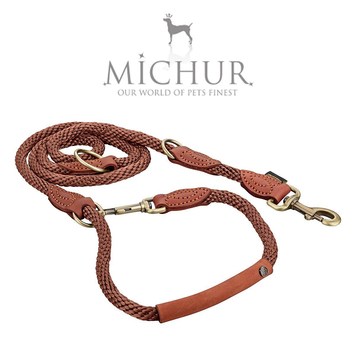 Michur Sherpa Hundeleine Führleine rund gewebt aus Nylon Tau mit robustem Leder verstärkt, 3-fach verstellbar, in verschiedenen Größen erhältlich