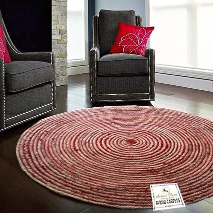 Avioni Dyed Jute Red Modern Round Rug-Carpet for Living Room-122 cm (~ 4 feet) Diameter