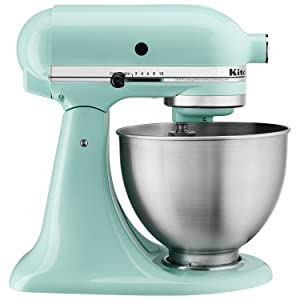 KitchenAid KSM3311XAQ Artisan Mini Series Tilt-Head Stand Mixer, 3.5 quart, Aqua Sky Blue