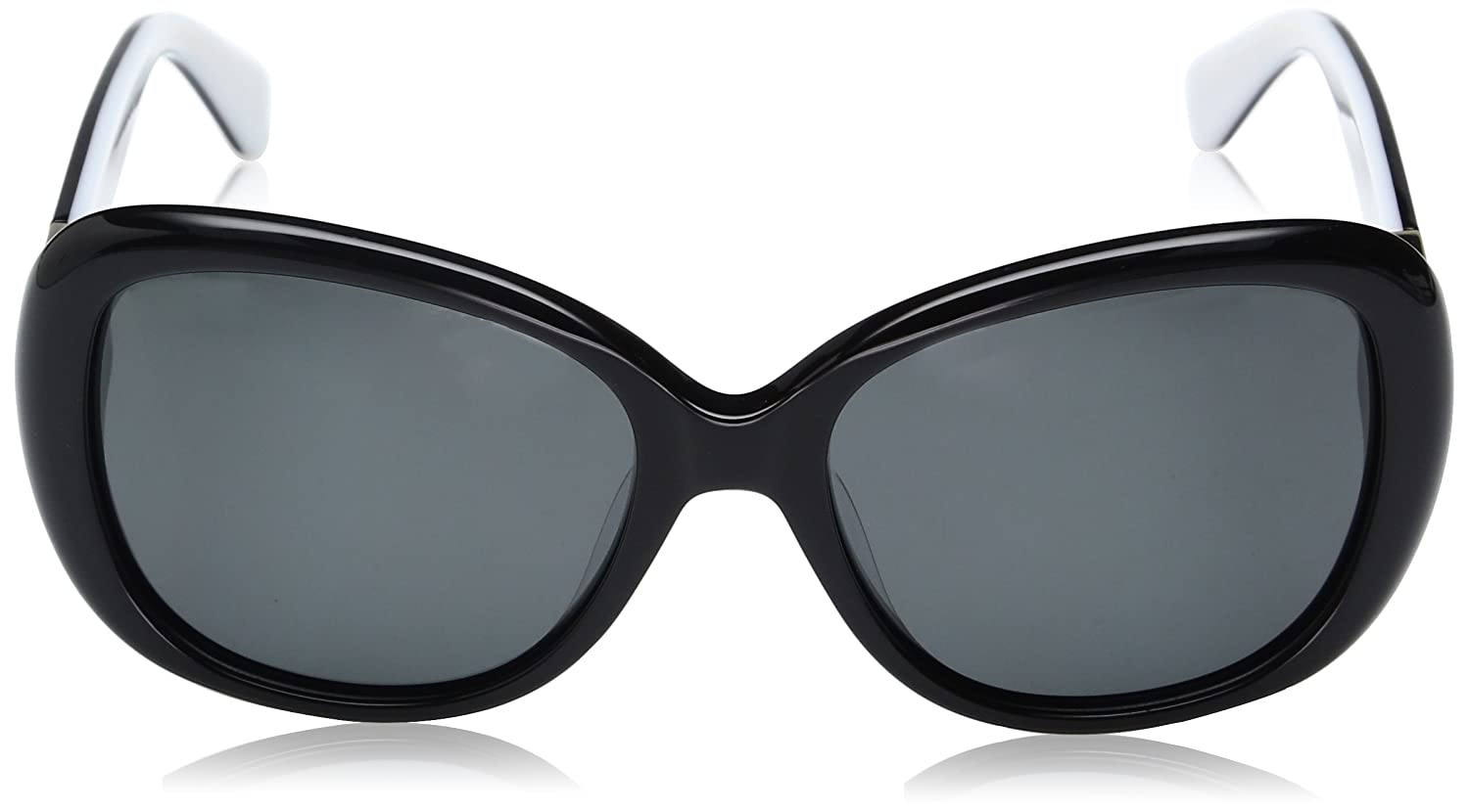 09a2c9718a6 Amazon.com  Kate Spade Women s Judyann p s Oval Sunglasses BLACK IVORY GRAY  POLARIZED 56 mm  Clothing