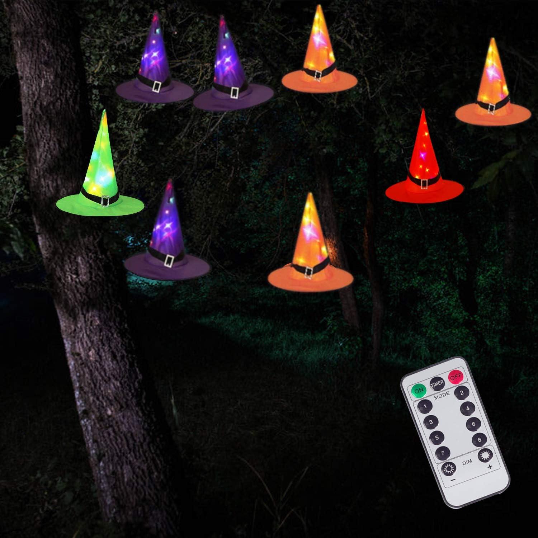 DAYLIGHTIR 8 Pack Witch Hat String Lights, 8 Lighting Modes, Battery-Powered Waterproof, Halloween Decorations for Outdoor Indoor Garden Yard Tree Party
