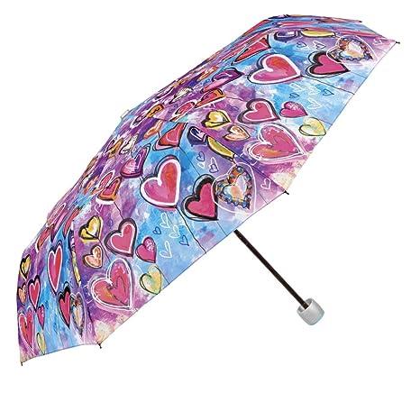 Paraguas Plegable Mujer - Mini Paraguas con Estampado Corazones - Resistente Compacto y Antiviento - 97
