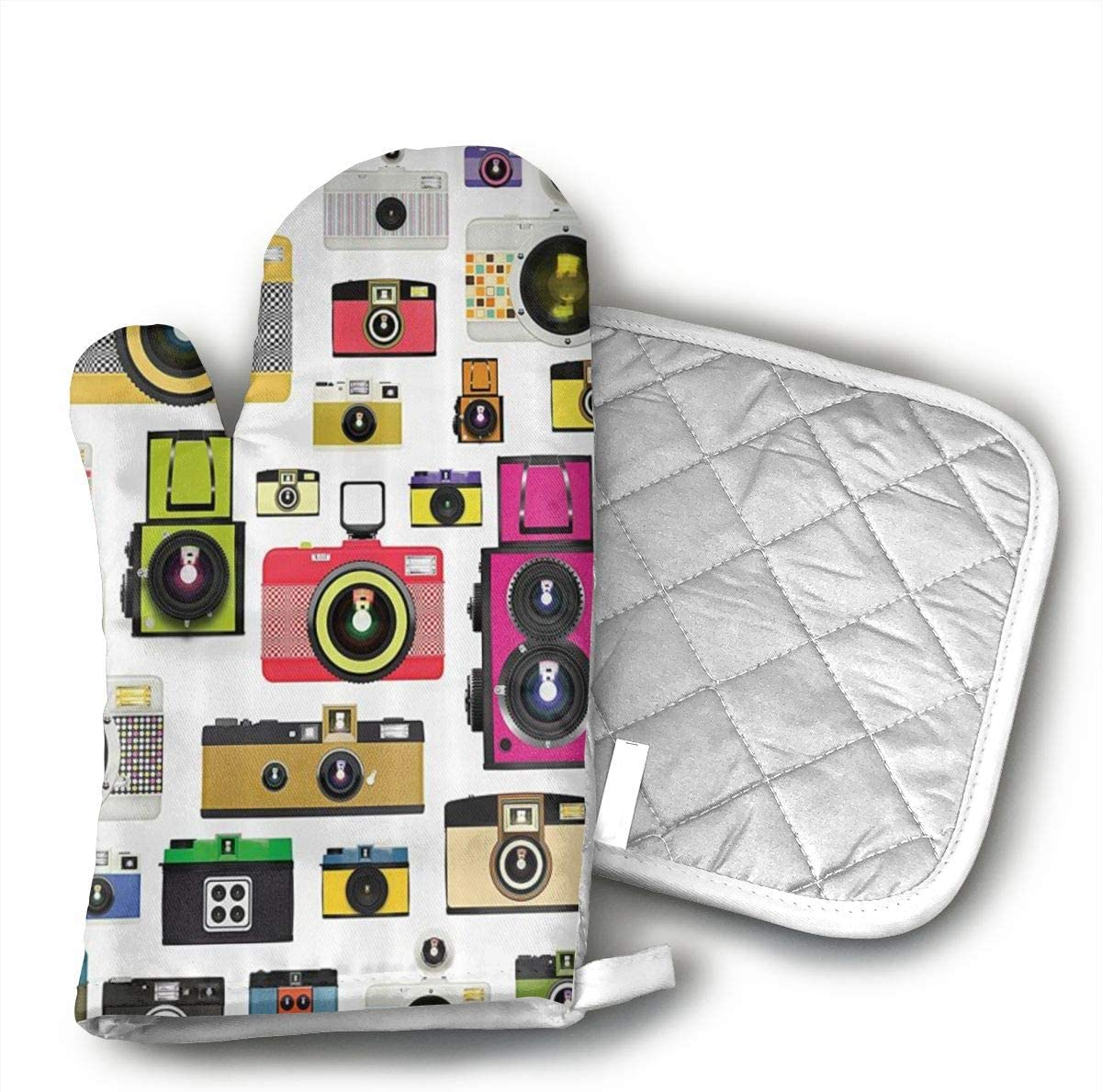 HGUIDHG DVIKH Photographic Camera Oven Mitts+Insulated Square Mat,Heat Resistant Kitchen Gloves Soft Insulated Deep Pockets, Non-Slip Handles