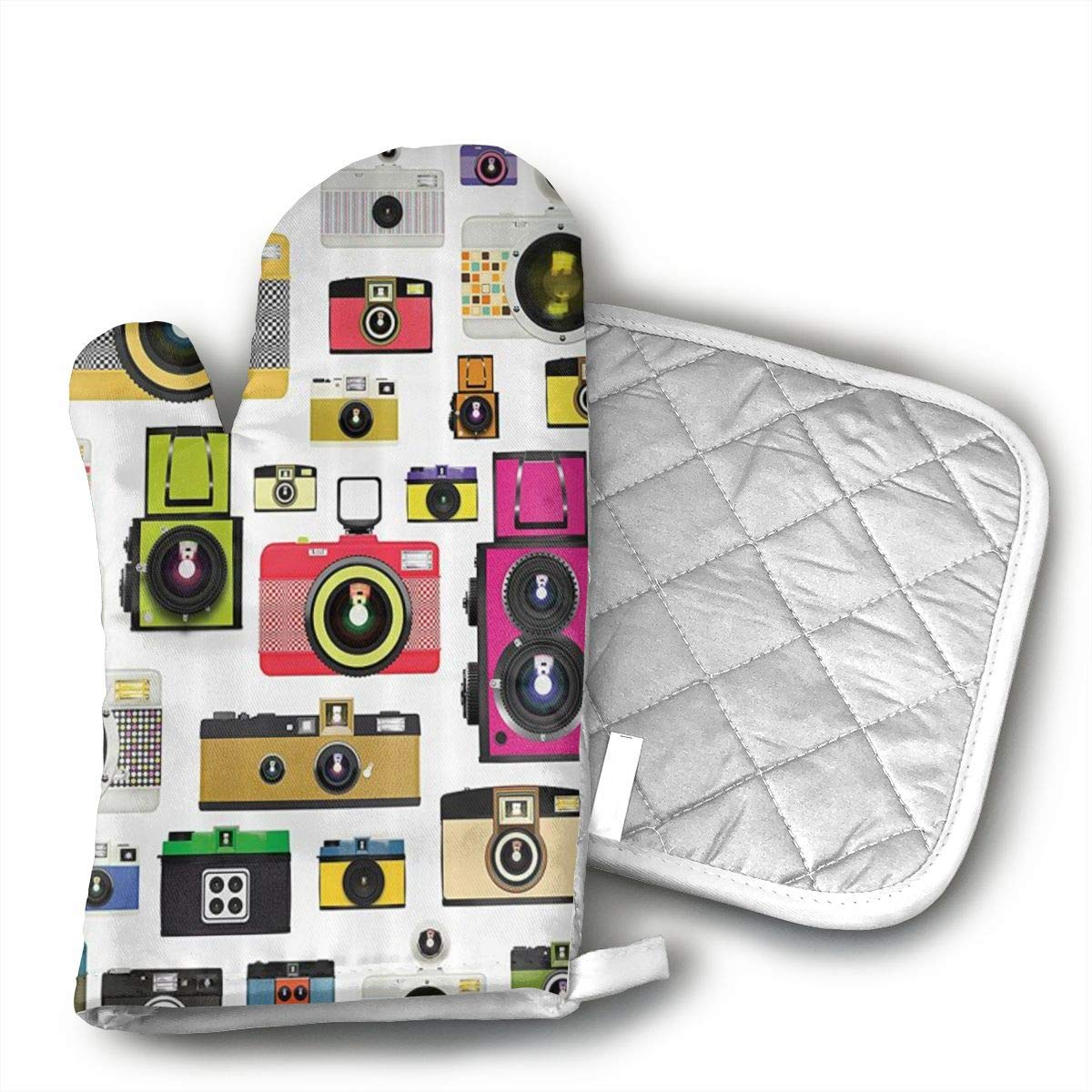 WODHGG Photographic Camera Oven mitt Pot Holder for Kitchen, Cooking, Baking, Barbecue