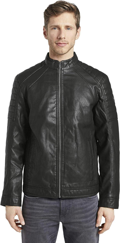Tom Tailor Faux Leder Biker Jacke Chaqueta de Cuero sintético para Hombre