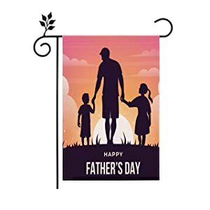 Happy Fathers Day Hero Dad Double Sided Garden Yard Flag Dad's Hug Love Flags Super Dad Greeting Dad's Holiday Banner for Outdoor Home Decor