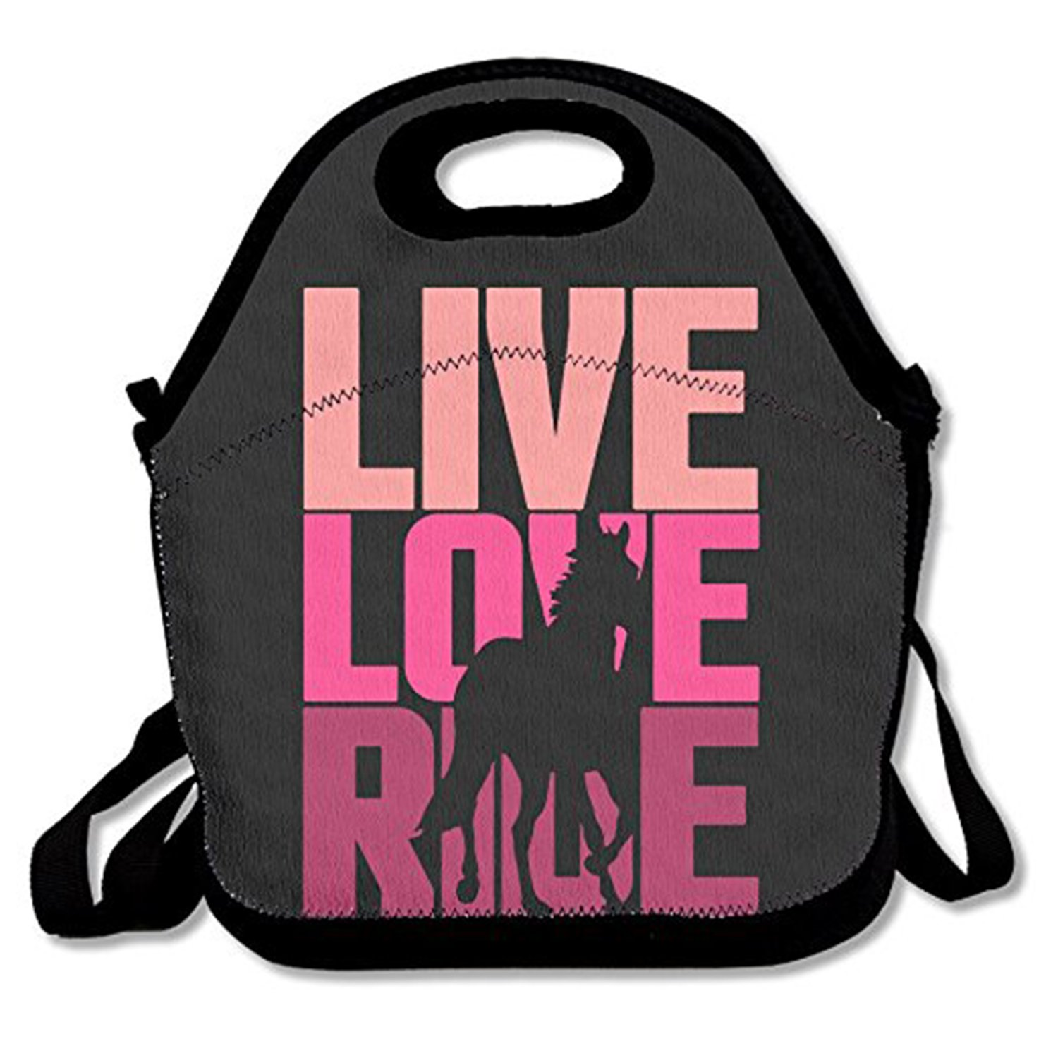 ZMvise Live Love Ride Horse Lunch Tote Insulated Reusable Picnic Lunch Bags Boxes Men Women Kids Toddler Nurses Travel Bag