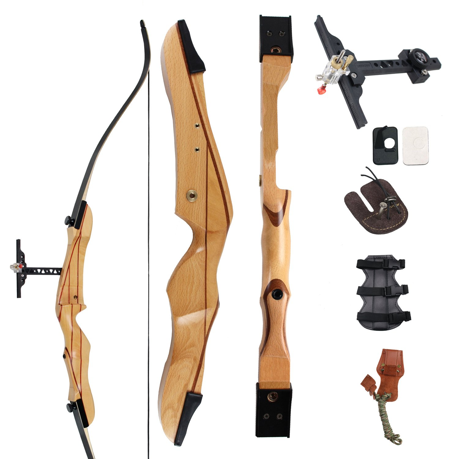 SinoArt 68'' Takedown Recurve Bow Adult Archery Competition Athletic Bow Weights 18 20 22 24 26 28 30 32 34 36 LB RIGHT HANDED Archery Kit (RIGHT HAND 20 LB)
