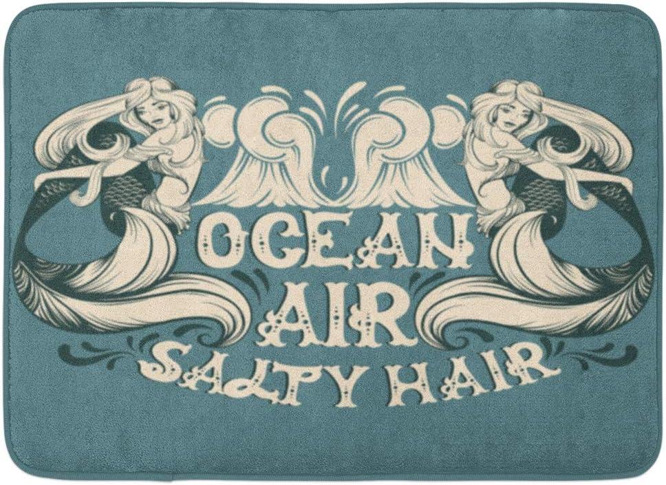 Emvency Doormats Bath Rugs Outdoor/Indoor Door Mat Nautical Ocean Air Salty Hair Quote Typographical Fairy Mermaid for Vintage Bathroom Decor Rug Bath Mat 16