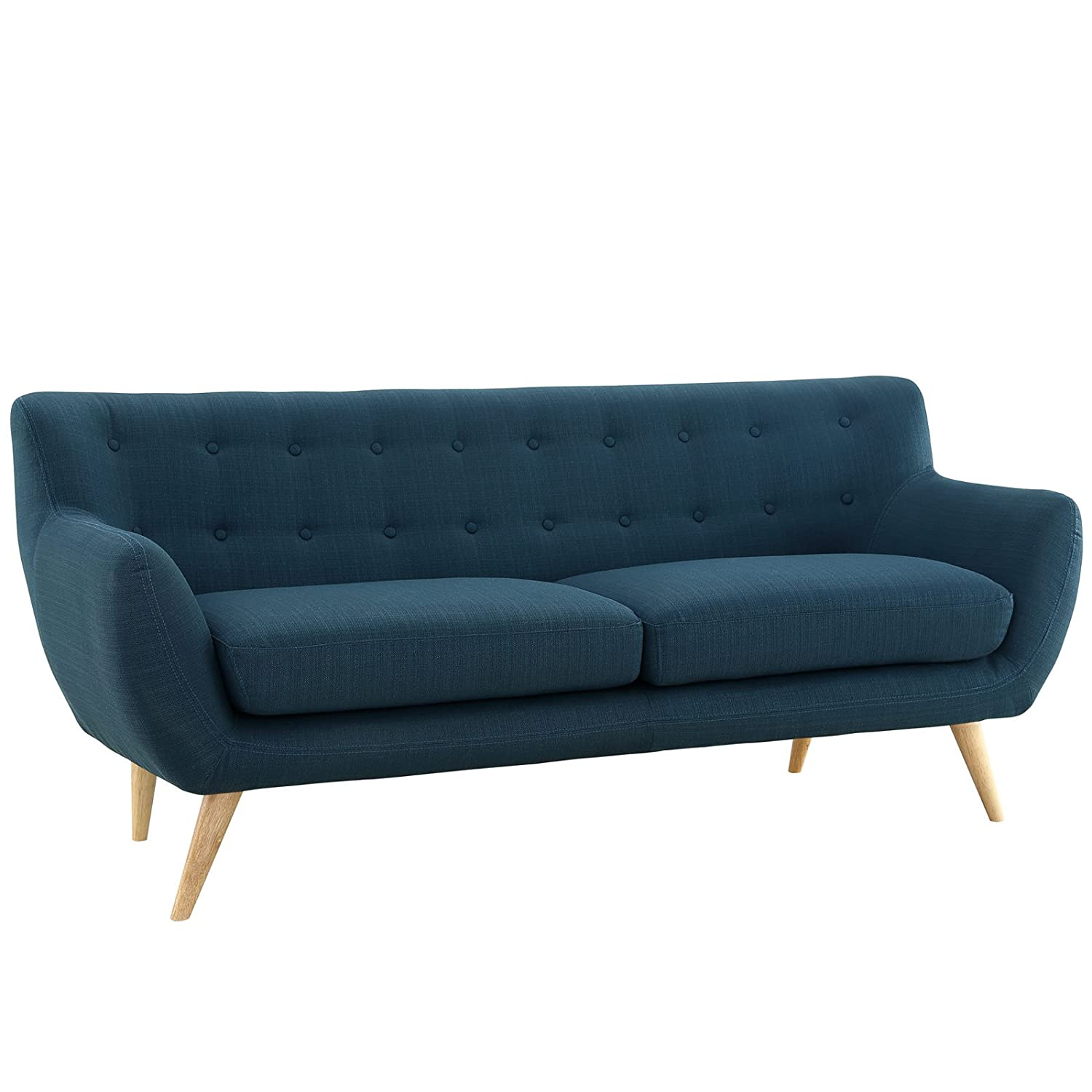 Amazon com modway remark mid century modern sofa with upholstered fabric in azure kitchen dining