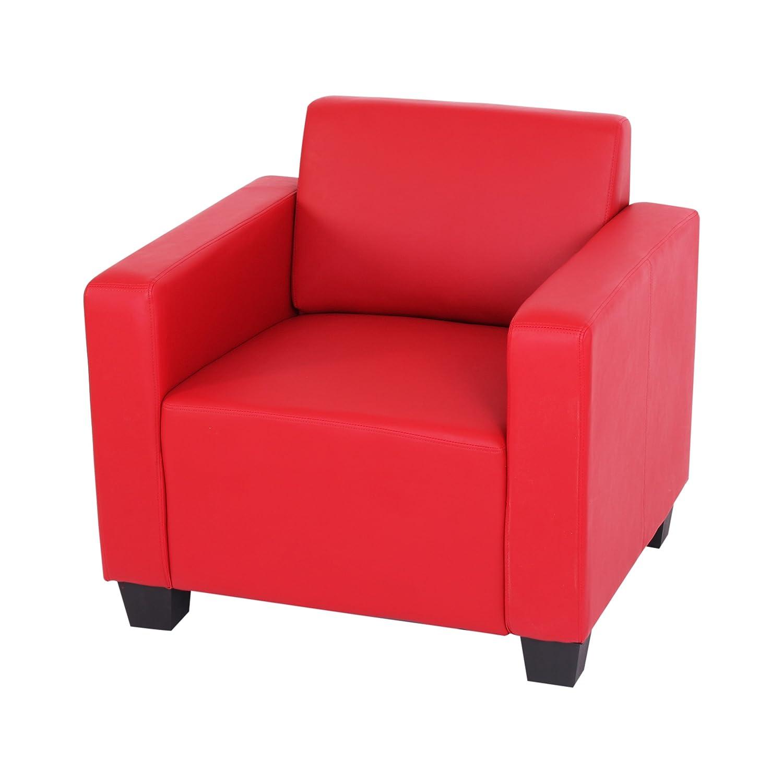 Sistema modulare Lione N71 salotto ecopelle poltrona ~ rosso Mendler