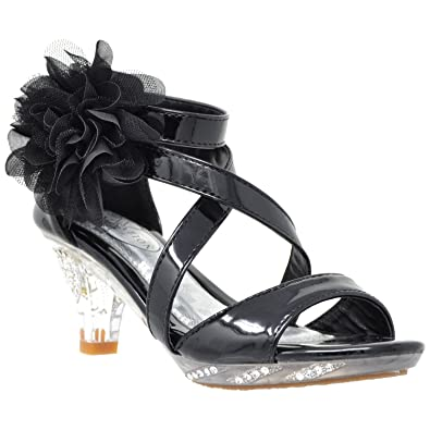 57f14dbd2e77 Generation Y Kids Dress Sandals Strappy Rhinestone Flower Clear High Heel  Shoes Black SZ 1 Youth