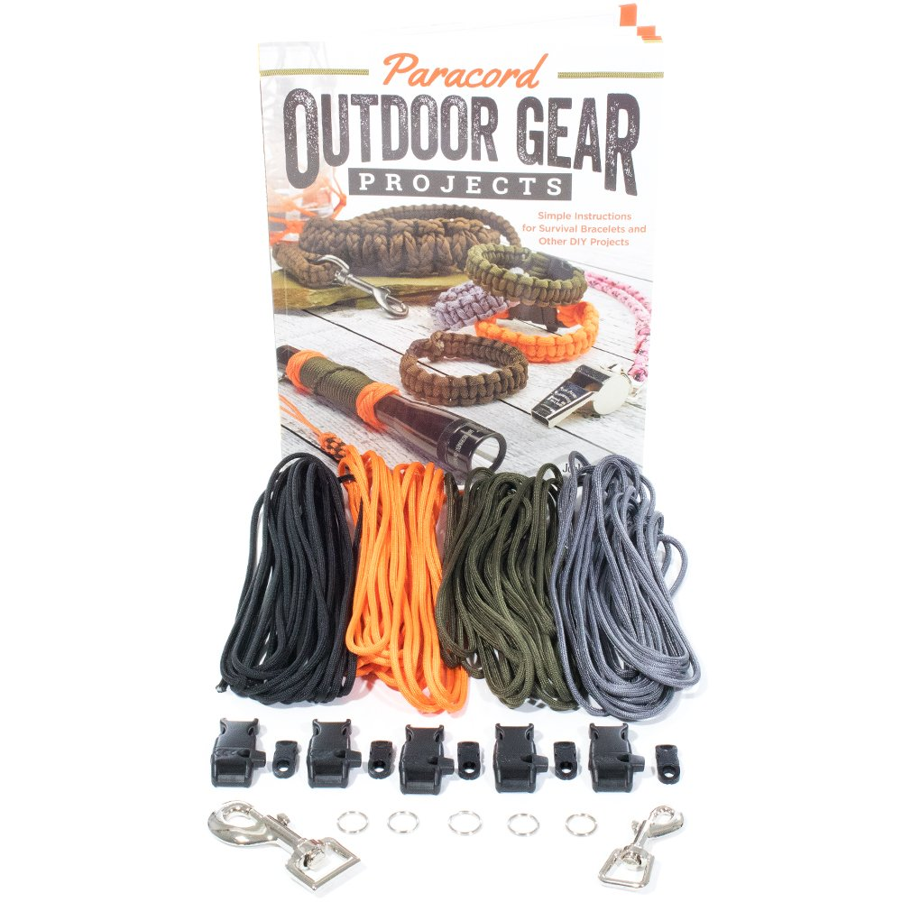 Paracord Outdoor Gear DIY Craft Book and Crafting Kit - Create Simple Projects for The Outdoors - Survival Bracelet, Knots, Handle Wraps, and More
