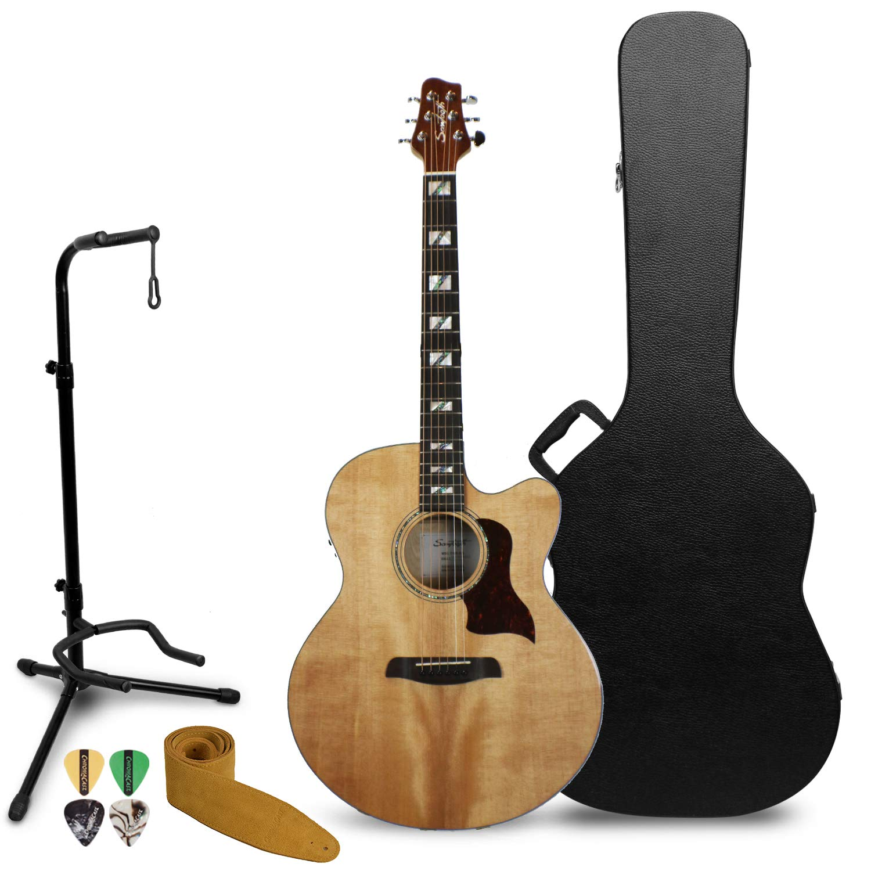Sawtooth - Guitarra acústica eléctrica de arce con carcasa ...