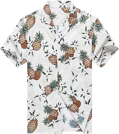 Hecho en Hawaii Camisa Hawaiana de los Hombres Camisa Hawaiana Piña Dorada en Blanco