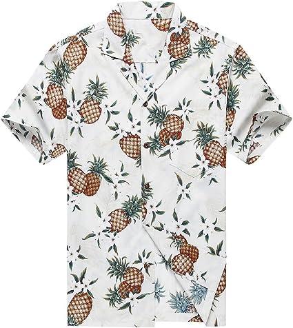 Hecho en Hawaii Camisa Hawaiana de los Hombres Camisa Hawaiana Piña Dorada en Blanco: Amazon.es: Ropa y accesorios