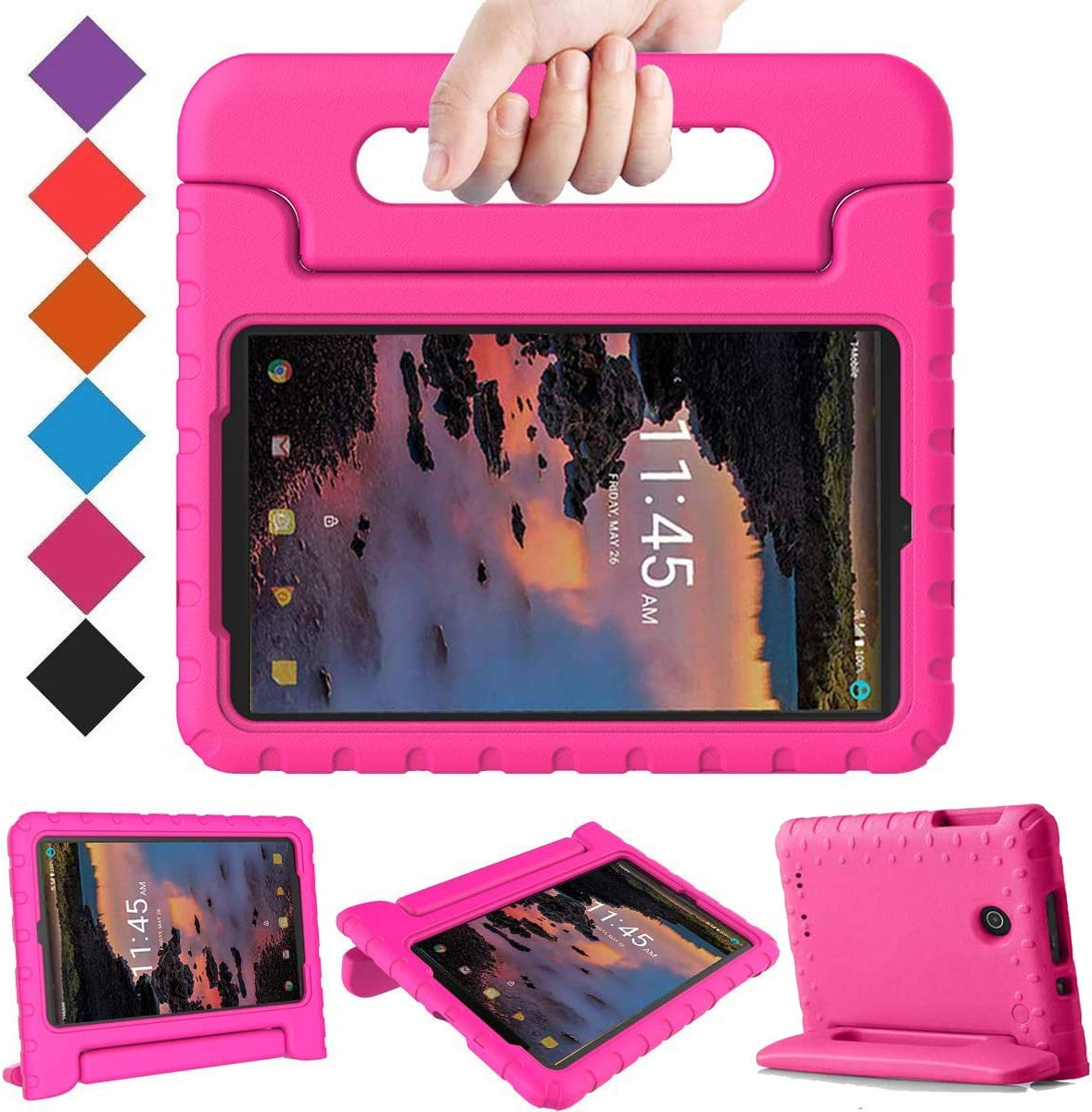 BMOUO Kids Case for Alcatel Joy Tab 8/3T 8 Tablet 2018/Alcatel A30 Tablet 8 2017, Lightweight Kid-Proof Handle Stand Case for Alcatel Joy Tab 2019/ Alcatel 3T 2018/ Alcatel A30 2017 8 - Rose
