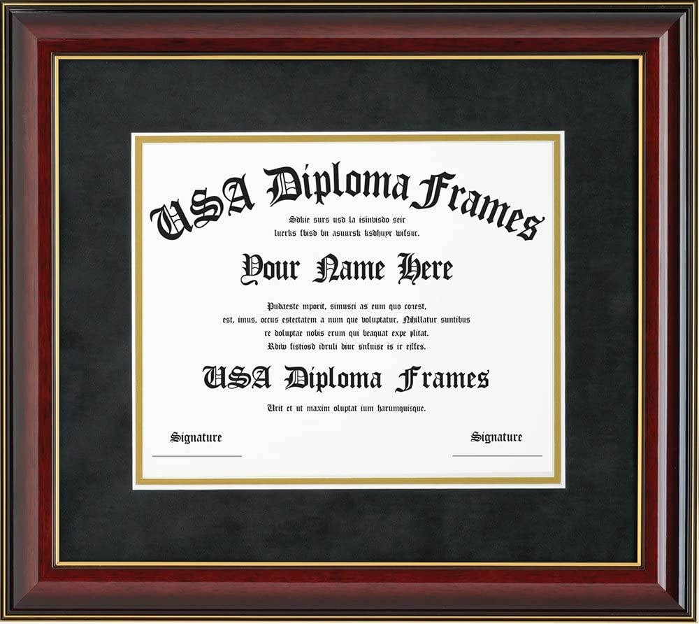 Glossy Cherry Mahogany With Gold Trim Diploma Frame Only Fits 11x14 Documents Or Certificates
