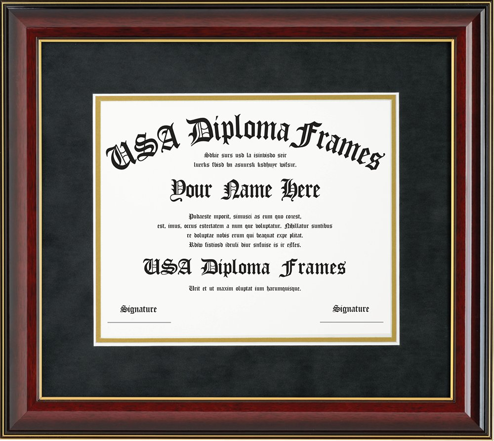Glossy Cherry Mahogany with Gold Trim Diploma Frame (8.5 x 11) by USADiplomaFrames