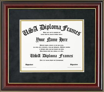 Amazon.com - Glossy Cherry Mahogany with Gold Trim Diploma Frame ...