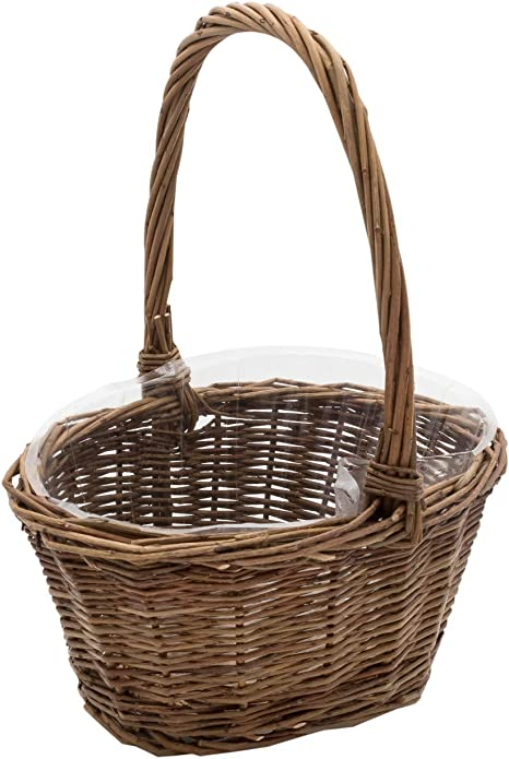 "Royal Imports Oval Shaped -Small- Willow Handwoven Easter Basket 9""(L) x7(W) x3.5(H) (10.5""(H) w/ Handle) Braided Rim - with Plastic Insert best Easter basket"