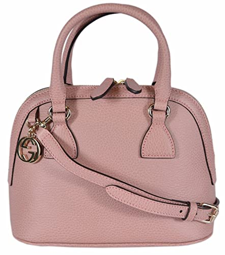 19a1db906f0c2 Gucci Women s Leather 2-Way Convertible GG Charm Small Dome Purse (Soft  Pink)