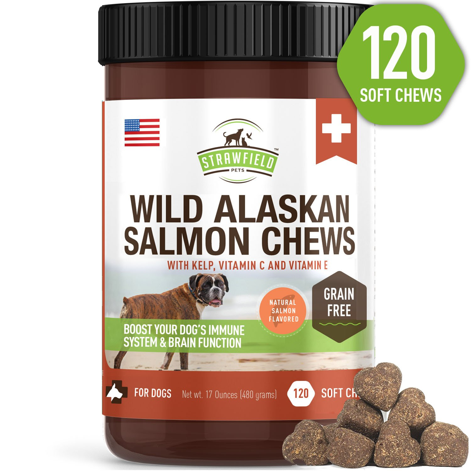 Salmon Oil for Dogs - Grain Free Dog Treats, 120 Chews - Omega 3 Fish Oil Pet Supplement for Joint Support, Shedding, Healthy Coat, Itching Skin Allergy Relief, Arthritis Pain, Anti Inflammatory, USA by Strawfield Pets