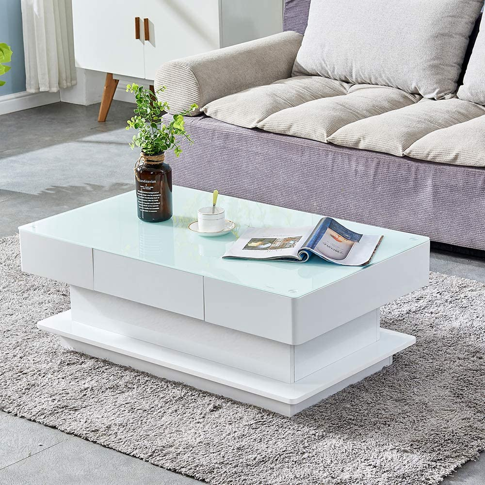 Amazon Com Homesailing Modern White High Gloss Coffee Table With 2 Storage Drawers Living Room Large Glass Tabletop Coffee Table Wood Frame Sofa End Tea Table Rectangular For Office Waiting Reception Furniture Kitchen
