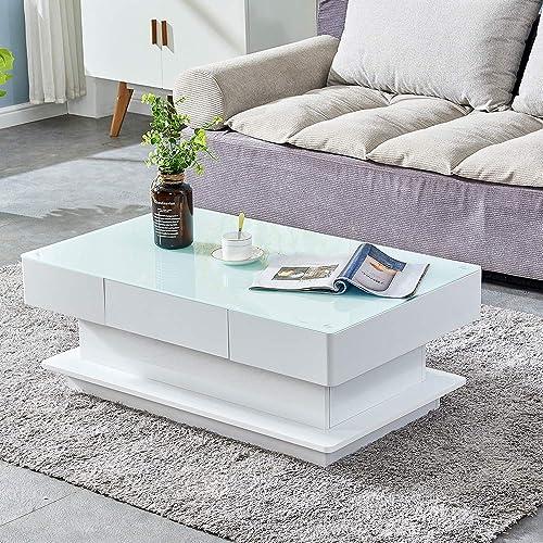 HomeSailing Modern White High Gloss Coffee Table