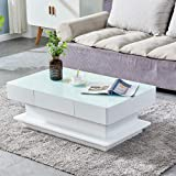 HomeSailing Modern White High Gloss Coffee Table with 2 Storage Drawers Living Room Large Glass Tabletop Coffee Table Wood Fr