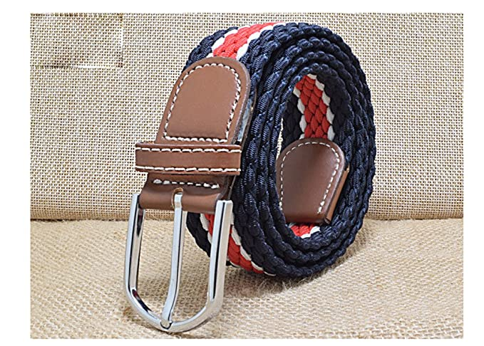 c396513185 WSHINE Kids Striped Braided Adjustable Stretch Belt with Buckle ...