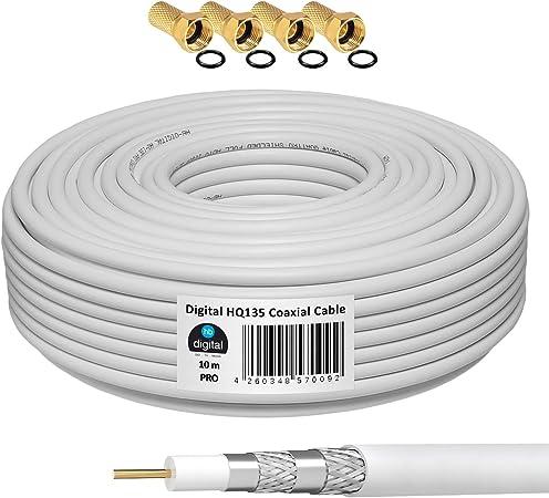 HB-DIGITAL 10m Cable Coaxial HQ-135 Cable de Antena 135dB Cable SAT 8K 4K UHD 4 Veces Apantallado Para Sistemas DVB-S / S2 DVB-C / C2 DVB-T / T2 DAB+ ...